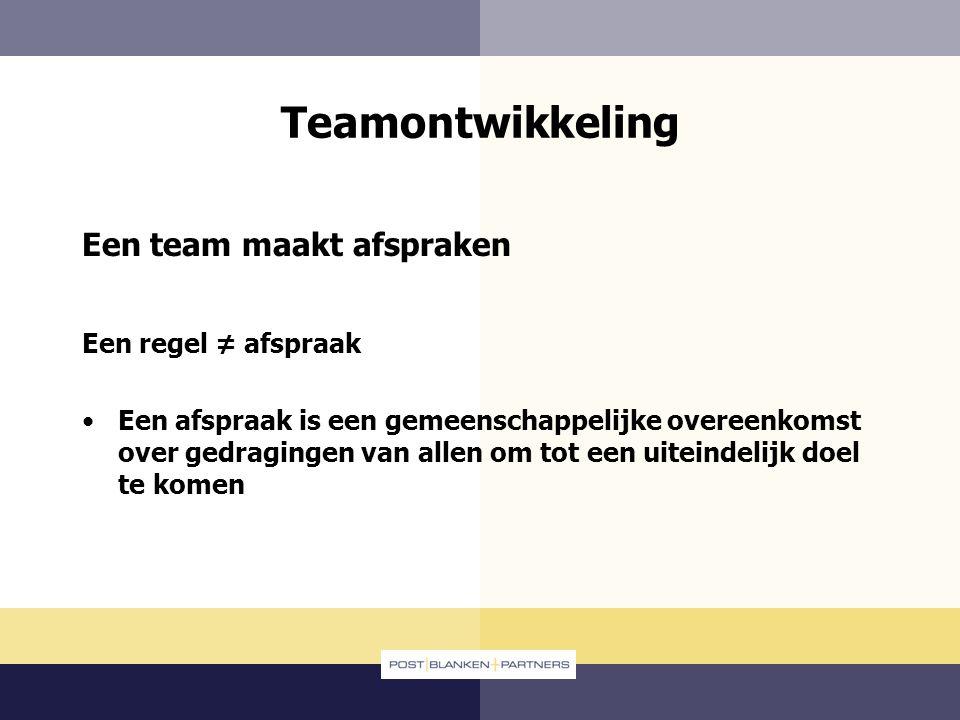 Teamontwikkeling Een team maakt afspraken Een regel ≠ afspraak Een afspraak is een gemeenschappelijke overeenkomst over gedragingen van allen om tot e