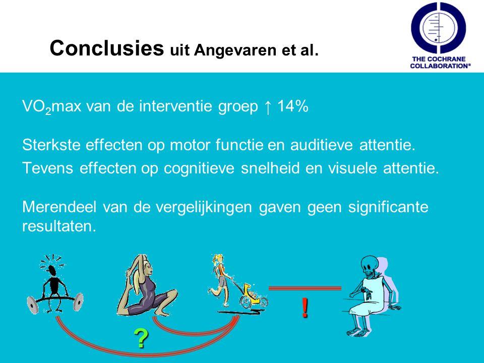 Conclusies uit Angevaren et al. VO 2 max van de interventie groep ↑ 14% Sterkste effecten op motor functie en auditieve attentie. Tevens effecten op c