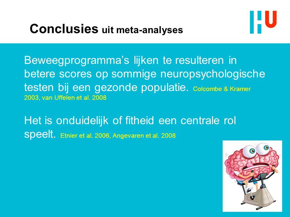 Conclusies uit meta-analyses Beweegprogramma's lijken te resulteren in betere scores op sommige neuropsychologische testen bij een gezonde populatie.