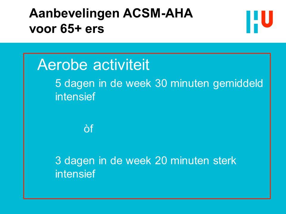 Aanbevelingen ACSM-AHA voor 65+ ers Aerobe activiteit 5 dagen in de week 30 minuten gemiddeld intensief òf 3 dagen in de week 20 minuten sterk intensi