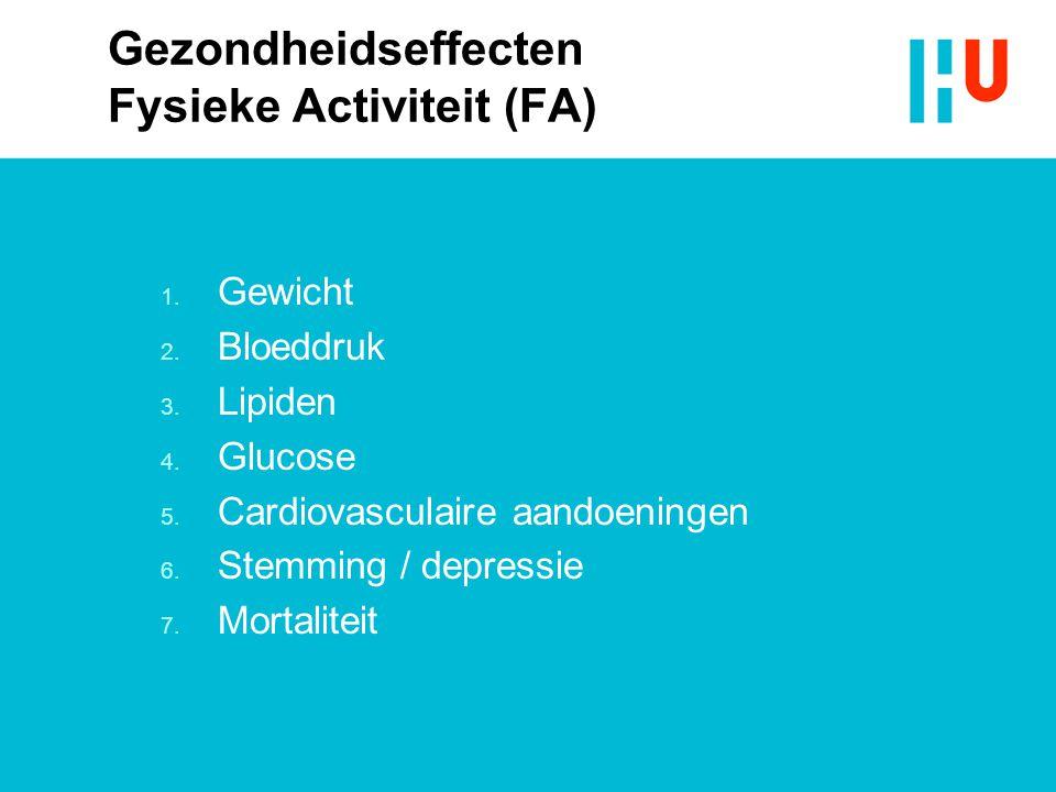 Gezondheidseffecten Fysieke Activiteit (FA) 1. Gewicht 2. Bloeddruk 3. Lipiden 4. Glucose 5. Cardiovasculaire aandoeningen 6. Stemming / depressie 7.