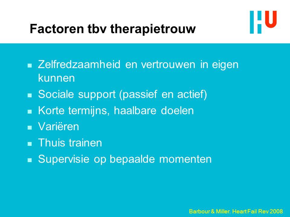 Factoren tbv therapietrouw n Zelfredzaamheid en vertrouwen in eigen kunnen n Sociale support (passief en actief) n Korte termijns, haalbare doelen n V