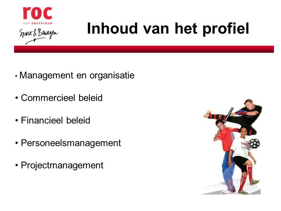 Inhoud van het profiel Management en organisatie Commercieel beleid Financieel beleid Personeelsmanagement Projectmanagement