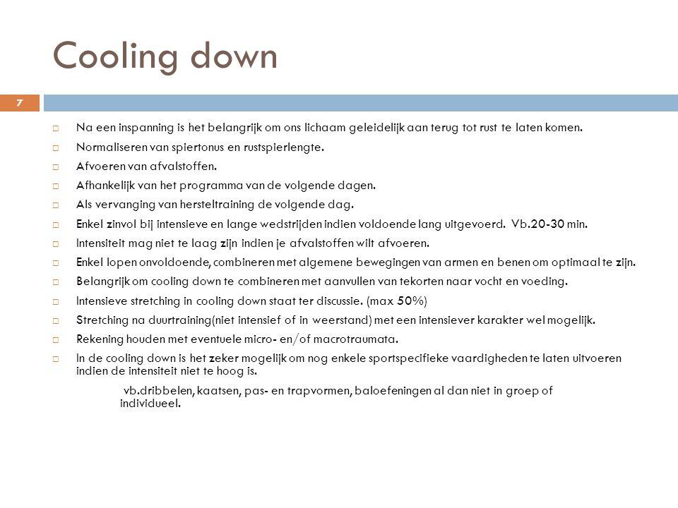 Cooling down  Na een inspanning is het belangrijk om ons lichaam geleidelijk aan terug tot rust te laten komen.  Normaliseren van spiertonus en rust