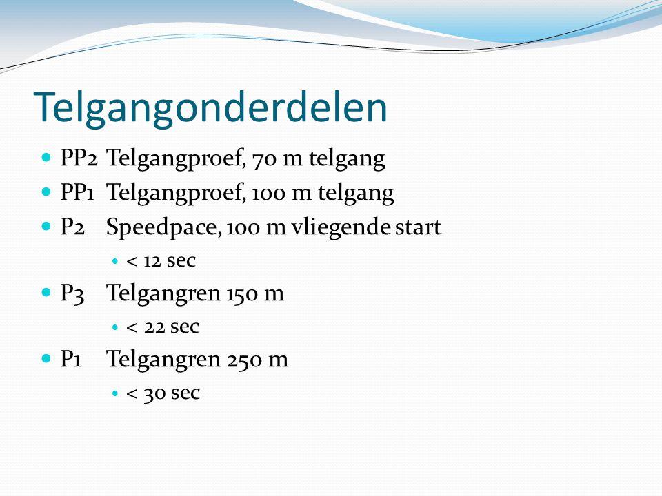 Telgangonderdelen PP2Telgangproef, 70 m telgang PP1Telgangproef, 100 m telgang P2Speedpace, 100 m vliegende start < 12 sec P3Telgangren 150 m < 22 sec