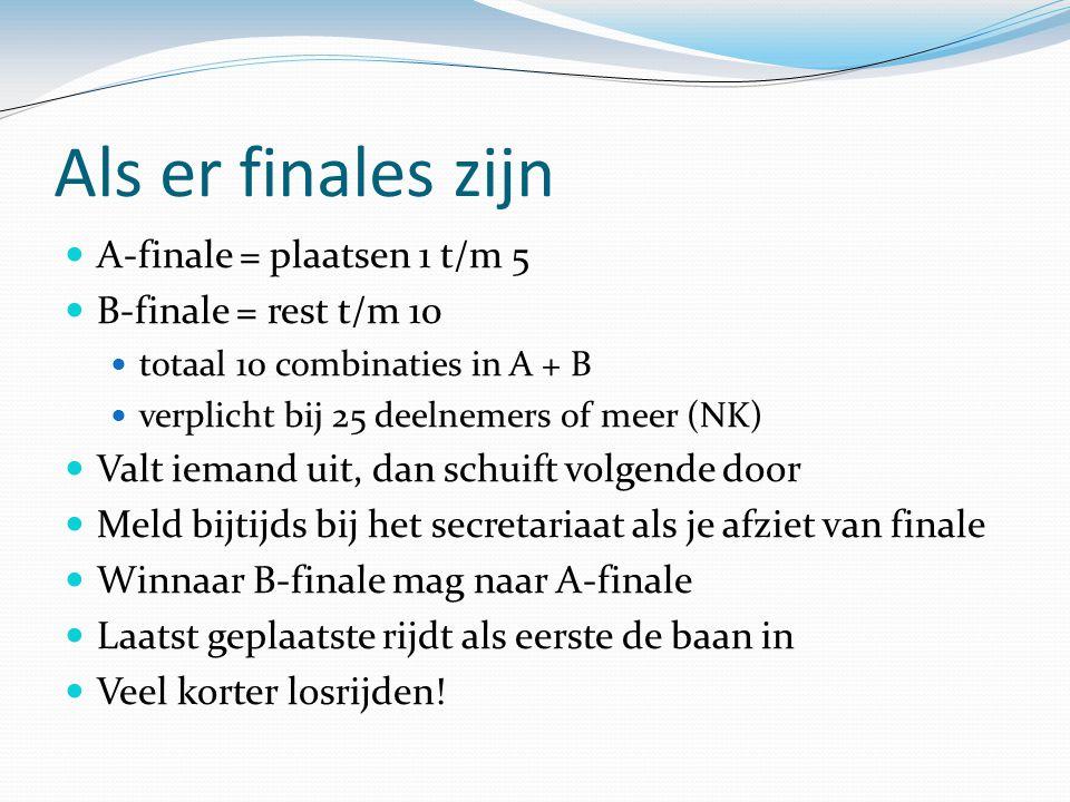 Als er finales zijn A-finale = plaatsen 1 t/m 5 B-finale = rest t/m 10 totaal 10 combinaties in A + B verplicht bij 25 deelnemers of meer (NK) Valt ie