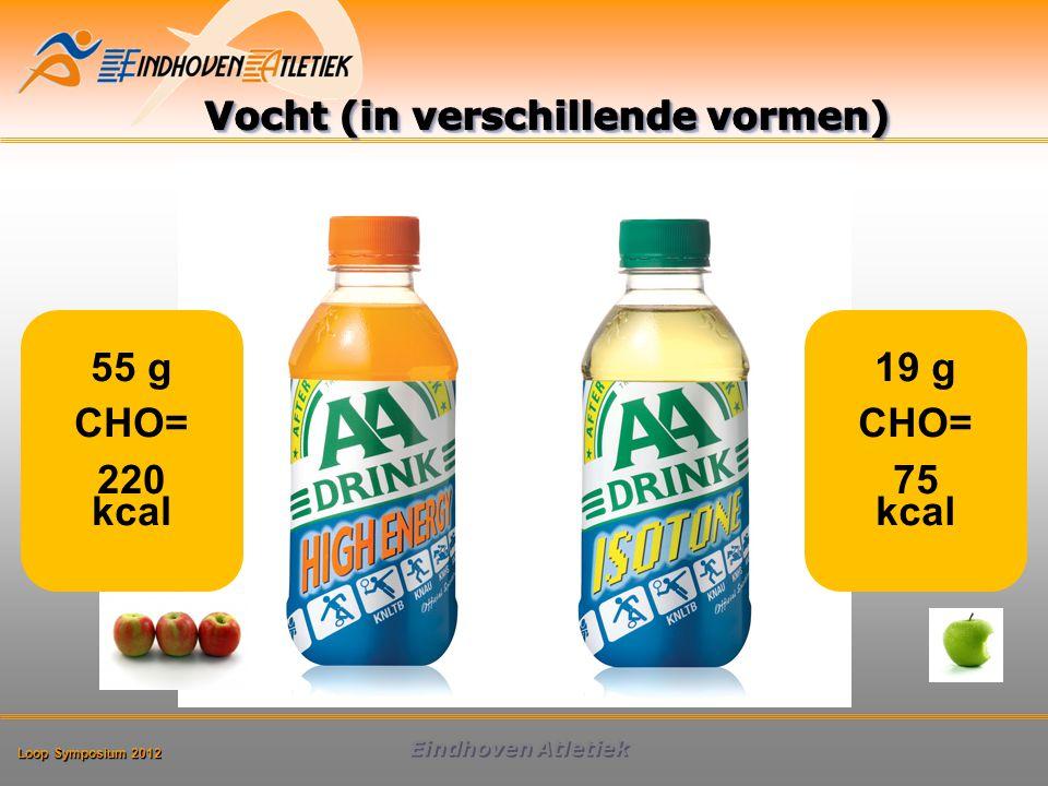 Loop Symposium 2012 Eindhoven Atletiek 55 g CHO= 220 kcal 19 g CHO= 75 kcal