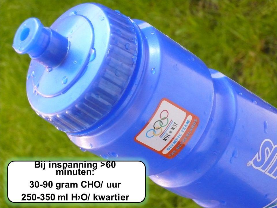 Loop Symposium 2012 Eindhoven Atletiek Bij inspanning >60 minuten: 30-90 gram CHO/ uur 250-350 ml H 2 O/ kwartier