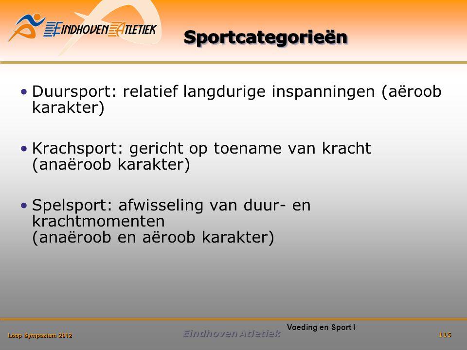 Loop Symposium 2012 Eindhoven Atletiek 115 Voeding en Sport I Duursport: relatief langdurige inspanningen (aëroob karakter) Krachsport: gericht op toename van kracht (anaëroob karakter) Spelsport: afwisseling van duur- en krachtmomenten (anaëroob en aëroob karakter)