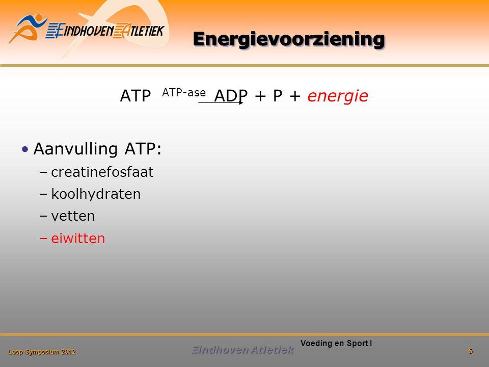 Loop Symposium 2012 Eindhoven Atletiek 6 Voeding en Sport I ATP ATP-ase ADP + P + energie Aanvulling ATP: –creatinefosfaat –koolhydraten –vetten –eiwitten