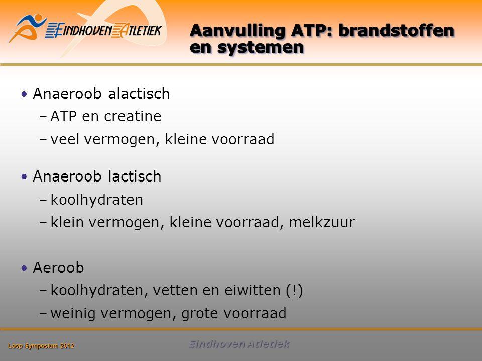 Loop Symposium 2012 Eindhoven Atletiek Anaeroob alactisch –ATP en creatine –veel vermogen, kleine voorraad Anaeroob lactisch –koolhydraten –klein vermogen, kleine voorraad, melkzuur Aeroob –koolhydraten, vetten en eiwitten (!) –weinig vermogen, grote voorraad