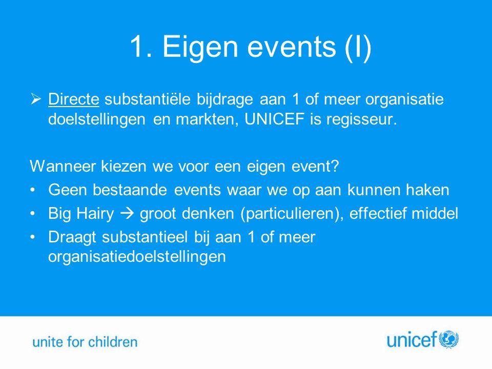 1. Eigen events (I)  Directe substantiële bijdrage aan 1 of meer organisatie doelstellingen en markten, UNICEF is regisseur. Wanneer kiezen we voor e
