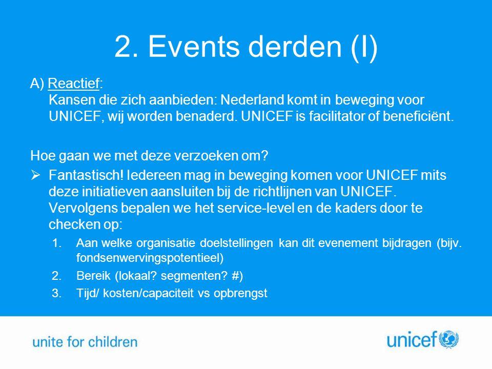 2. Events derden (I) A) Reactief: Kansen die zich aanbieden: Nederland komt in beweging voor UNICEF, wij worden benaderd. UNICEF is facilitator of ben