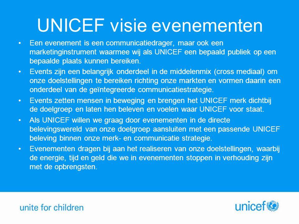 UNICEF visie evenementen Een evenement is een communicatiedrager, maar ook een marketinginstrument waarmee wij als UNICEF een bepaald publiek op een b