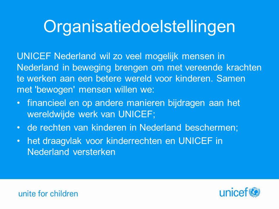Organisatiedoelstellingen UNICEF Nederland wil zo veel mogelijk mensen in Nederland in beweging brengen om met vereende krachten te werken aan een bet