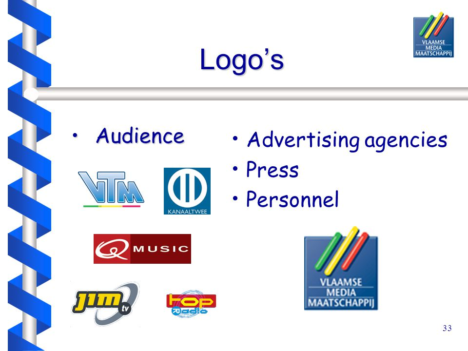 33 Logo's Audience Audience Advertising agencies Press Personnel