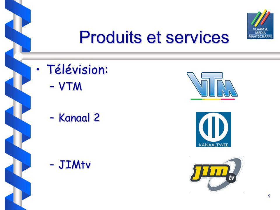 5 Produits et services Télévision:Télévision: –VTM –Kanaal 2 –JIMtv