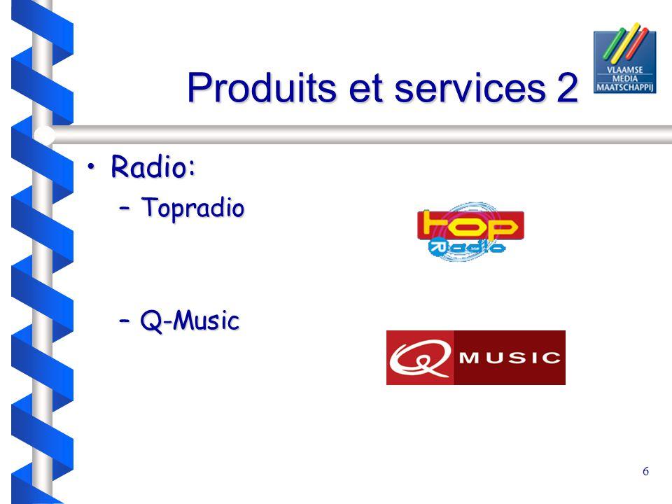 6 Produits et services 2 Produits et services 2 Radio:Radio: –Topradio –Q-Music