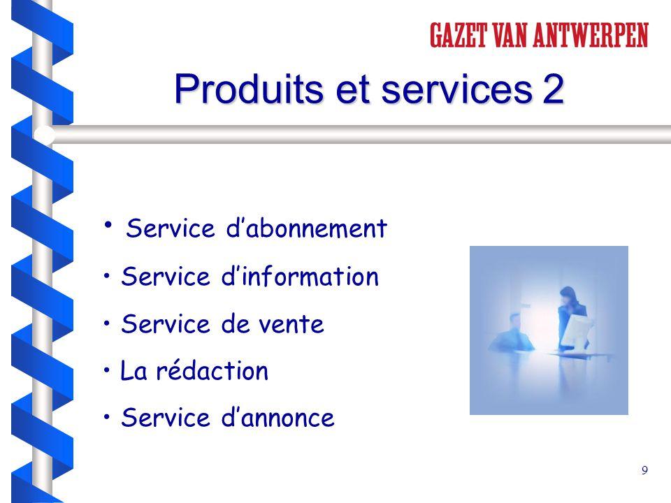9 Produits et services 2 Service d'abonnement Service d'information Service de vente La rédaction Service d'annonce