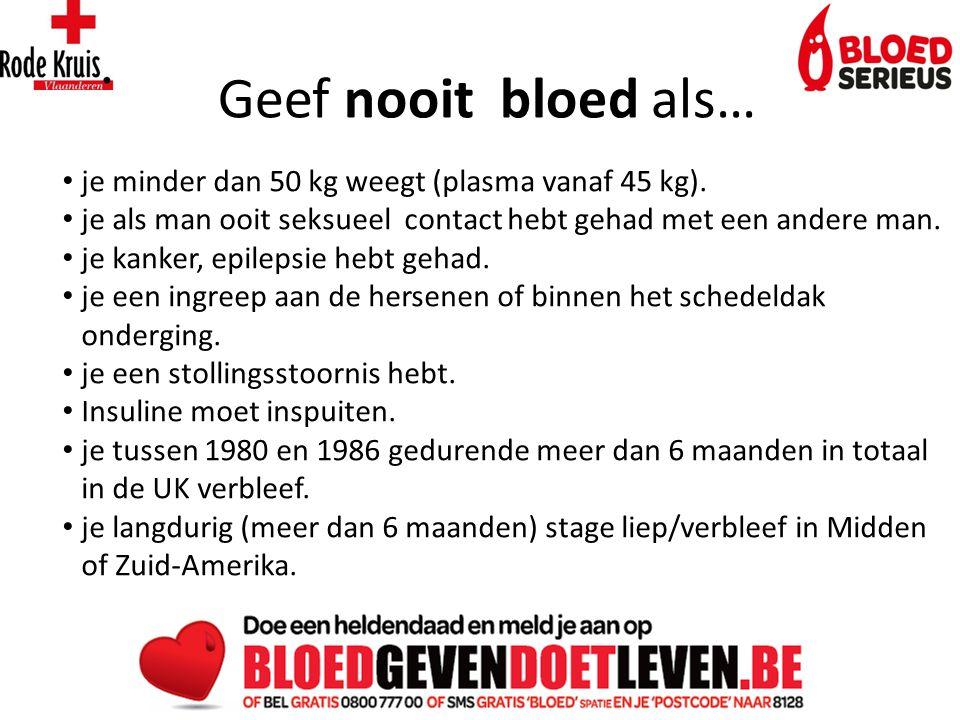 Geef nooit bloed als… je minder dan 50 kg weegt (plasma vanaf 45 kg).