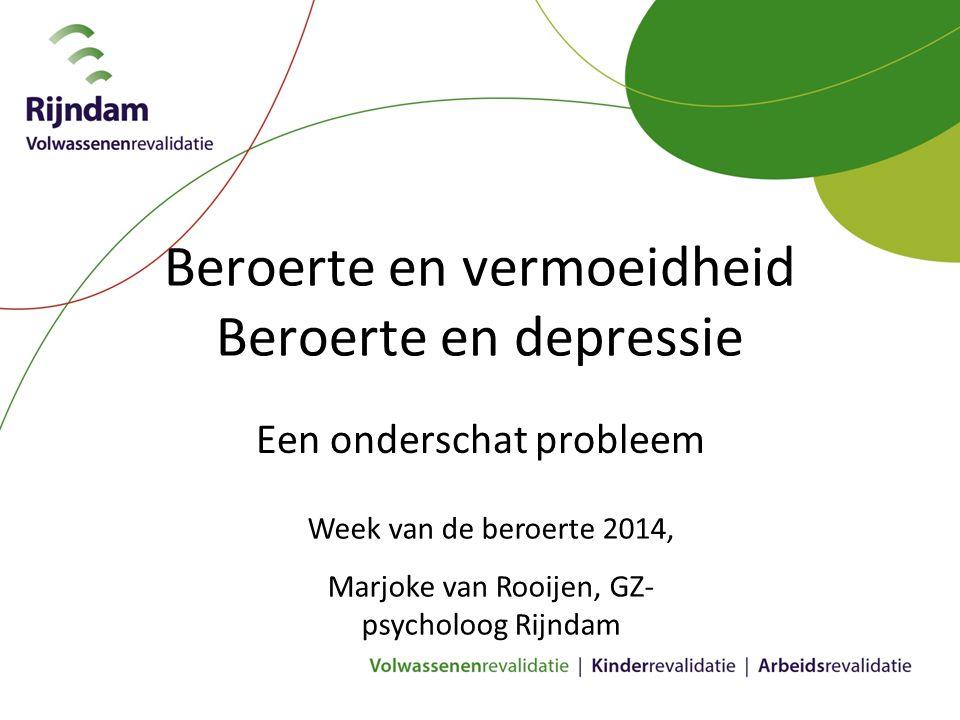 Beroerte en vermoeidheid Beroerte en depressie Een onderschat probleem Week van de beroerte 2014, Marjoke van Rooijen, GZ- psycholoog Rijndam