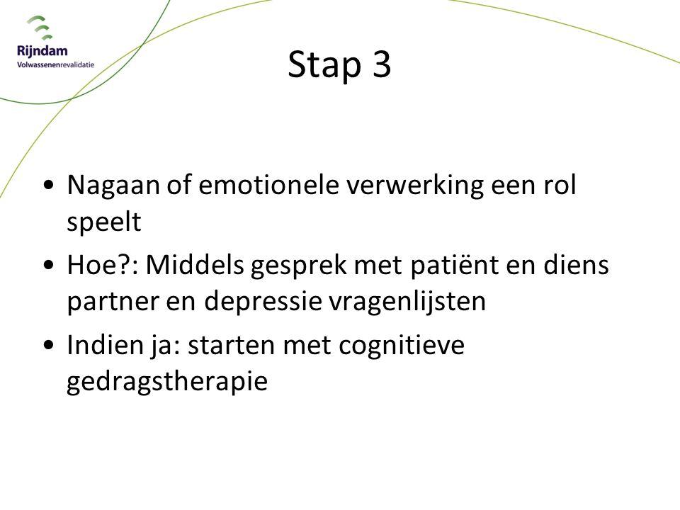 Stap 3 Nagaan of emotionele verwerking een rol speelt Hoe?: Middels gesprek met patiënt en diens partner en depressie vragenlijsten Indien ja: starten met cognitieve gedragstherapie