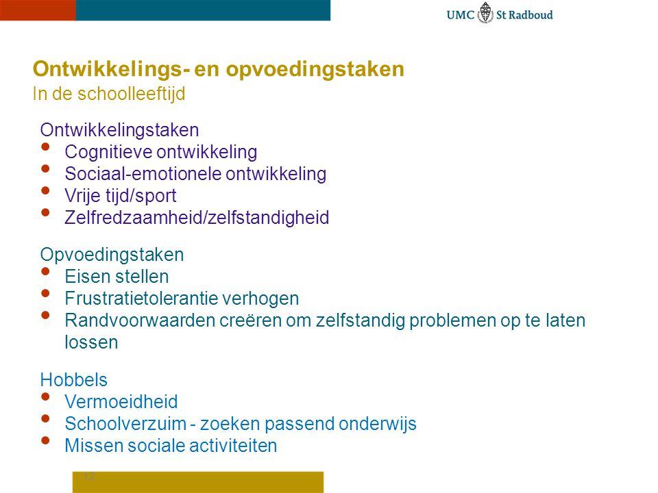12 Ontwikkelings- en opvoedingstaken In de schoolleeftijd Ontwikkelingstaken Cognitieve ontwikkeling Sociaal-emotionele ontwikkeling Vrije tijd/sport