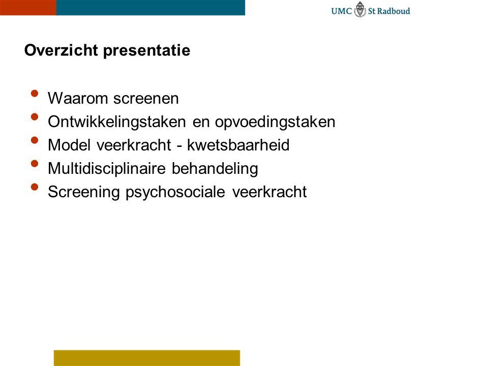 Overzicht presentatie Waarom screenen Ontwikkelingstaken en opvoedingstaken Model veerkracht - kwetsbaarheid Multidisciplinaire behandeling Screening