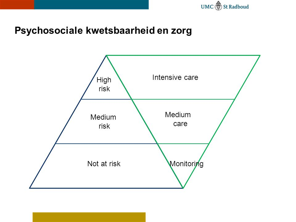 Psychosociale kwetsbaarheid en zorg Not at riskMonitoring Medium risk Medium care High risk Intensive care