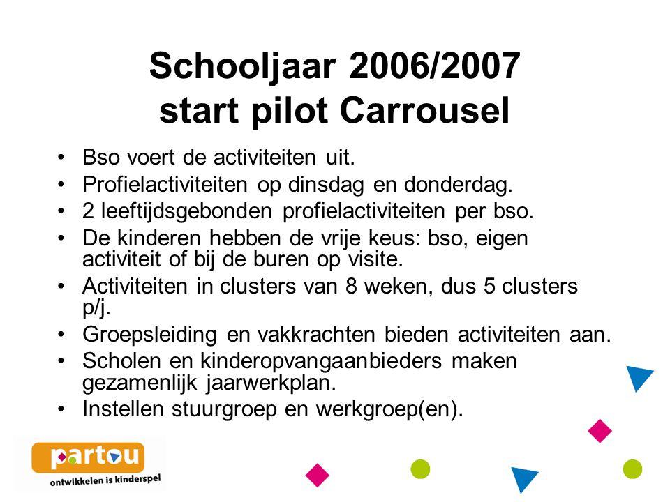 Schooljaar 2006/2007 start pilot Carrousel Bso voert de activiteiten uit.