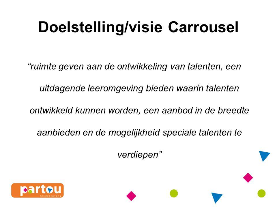 Doelstelling/visie Carrousel ruimte geven aan de ontwikkeling van talenten, een uitdagende leeromgeving bieden waarin talenten ontwikkeld kunnen worden, een aanbod in de breedte aanbieden en de mogelijkheid speciale talenten te verdiepen