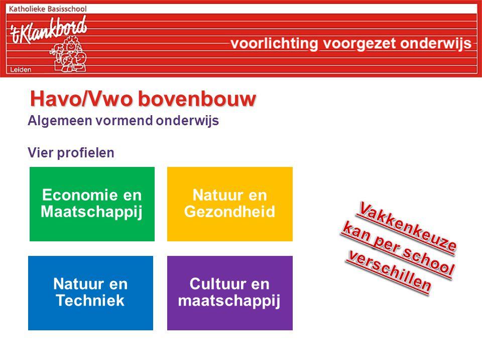 Havo/Vwo bovenbouw Algemeen vormend onderwijs Vier profielen Economie en Maatschappij Natuur en Gezondheid Natuur en Techniek Cultuur en maatschappij