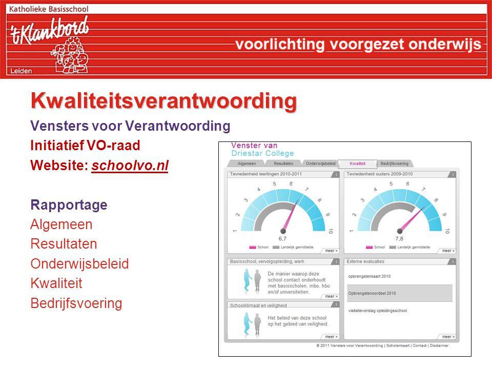 Kwaliteitsverantwoording Vensters voor Verantwoording Initiatief VO-raad Website: schoolvo.nl Rapportage Algemeen Resultaten Onderwijsbeleid Kwaliteit Bedrijfsvoering