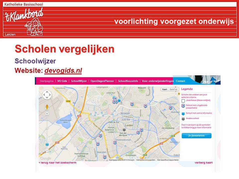 Scholen vergelijken Schoolwijzer Website: devogids.nl