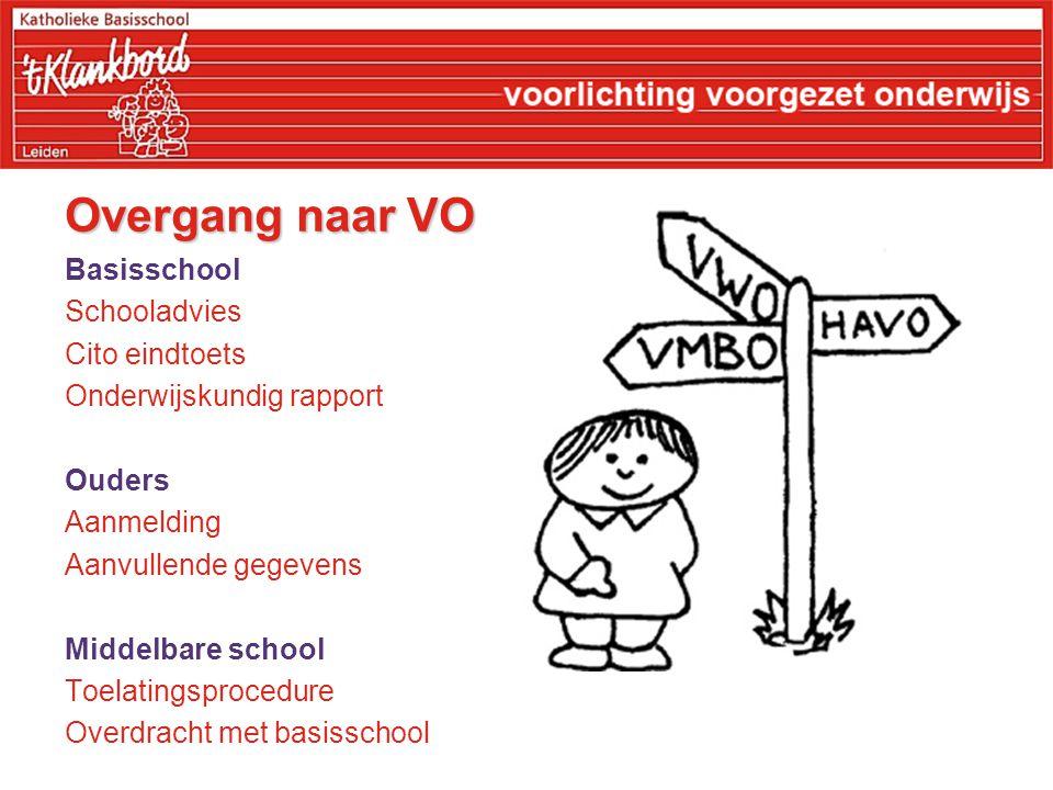 Overgang naar VO Basisschool Schooladvies Cito eindtoets Onderwijskundig rapport Ouders Aanmelding Aanvullende gegevens Middelbare school Toelatingspr