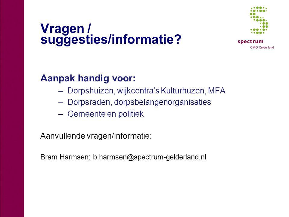 Vragen / suggesties/informatie? Aanpak handig voor: –Dorpshuizen, wijkcentra's Kulturhuzen, MFA –Dorpsraden, dorpsbelangenorganisaties –Gemeente en po