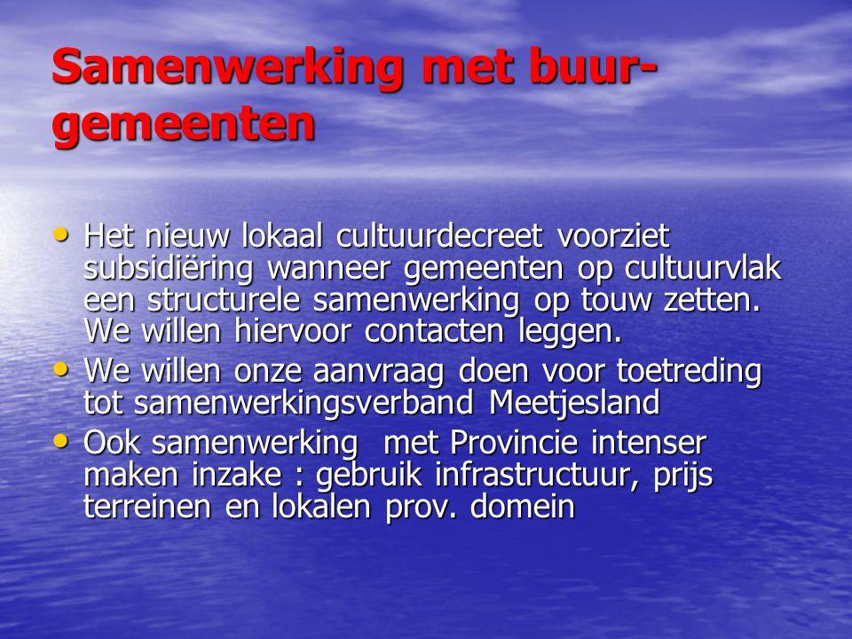 Samenwerking met buur- gemeenten Het nieuw lokaal cultuurdecreet voorziet subsidiëring wanneer gemeenten op cultuurvlak een structurele samenwerking op touw zetten.