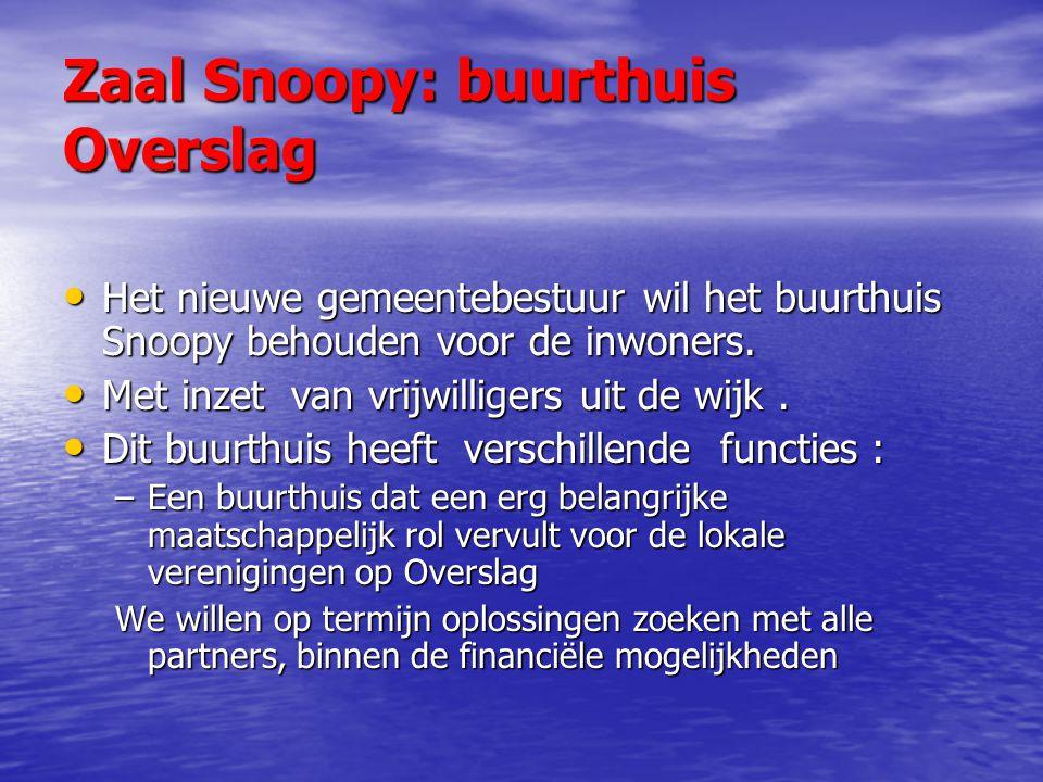 Zaal Snoopy: buurthuis Overslag Het nieuwe gemeentebestuur wil het buurthuis Snoopy behouden voor de inwoners.