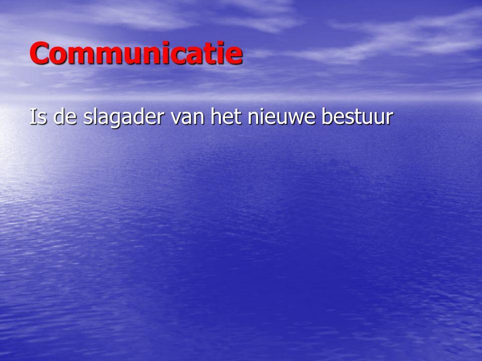 Communicatie Is de slagader van het nieuwe bestuur