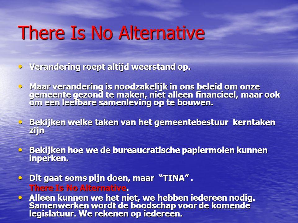 There Is No Alternative Verandering roept altijd weerstand op.