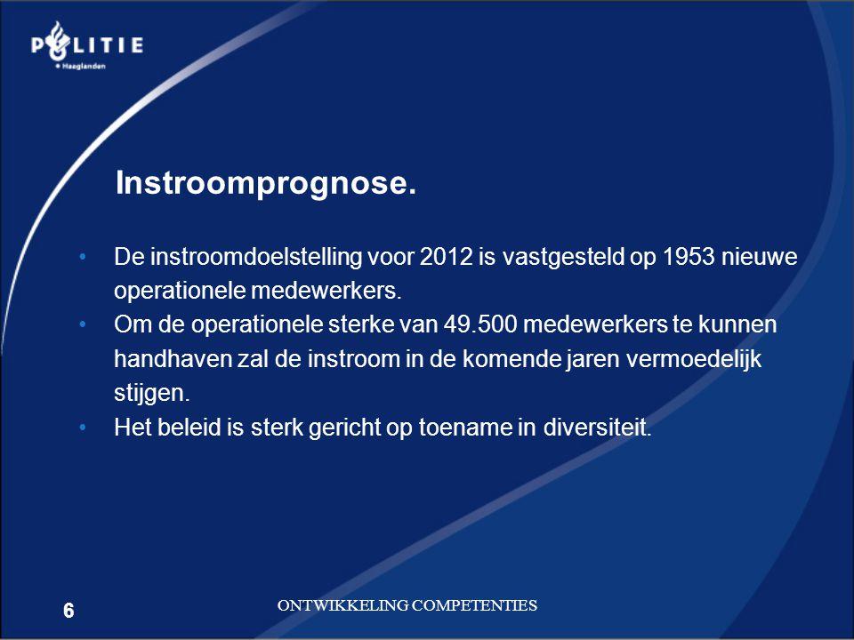 6 ONTWIKKELING COMPETENTIES De instroomdoelstelling voor 2012 is vastgesteld op 1953 nieuwe operationele medewerkers. Om de operationele sterke van 49