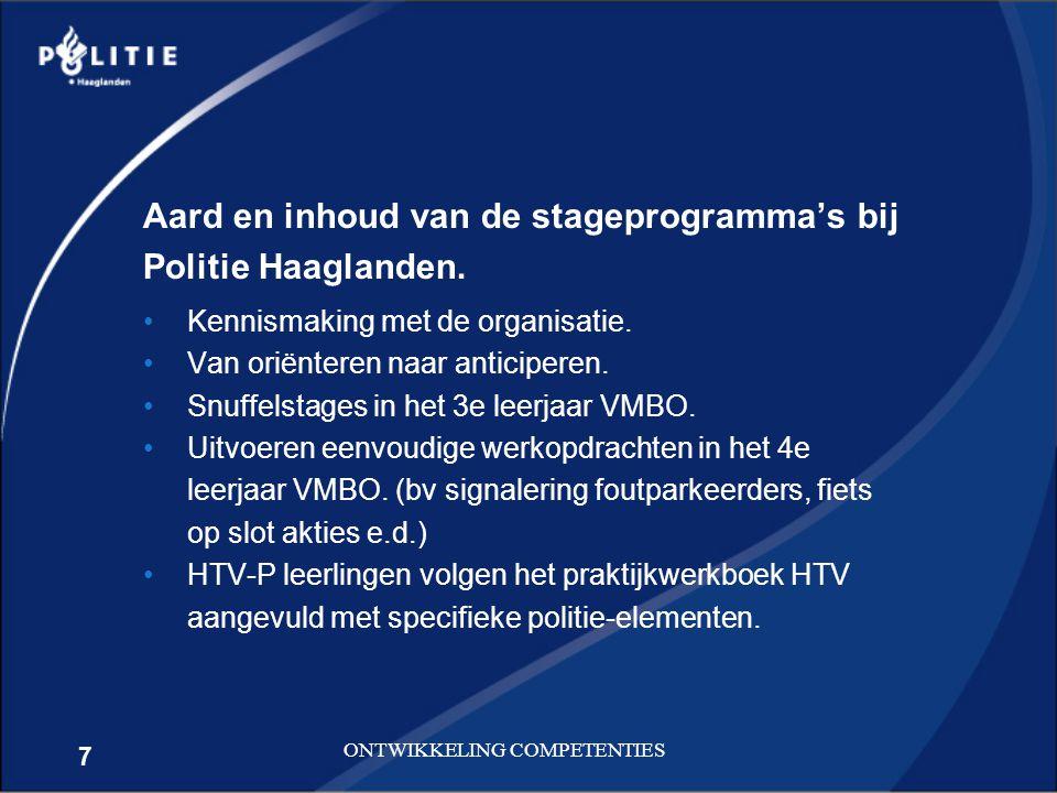 7 ONTWIKKELING COMPETENTIES Aard en inhoud van de stageprogramma's bij Politie Haaglanden. Kennismaking met de organisatie. Van oriënteren naar antici