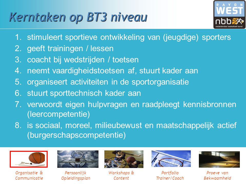 Organisatie & Communicatie Persoonlijk Opleidingsplan Workshops & Content Portfolio Trainer/Coach Proeve van Bekwaamheid Kerntaken op BT2 niveau 1 Beg