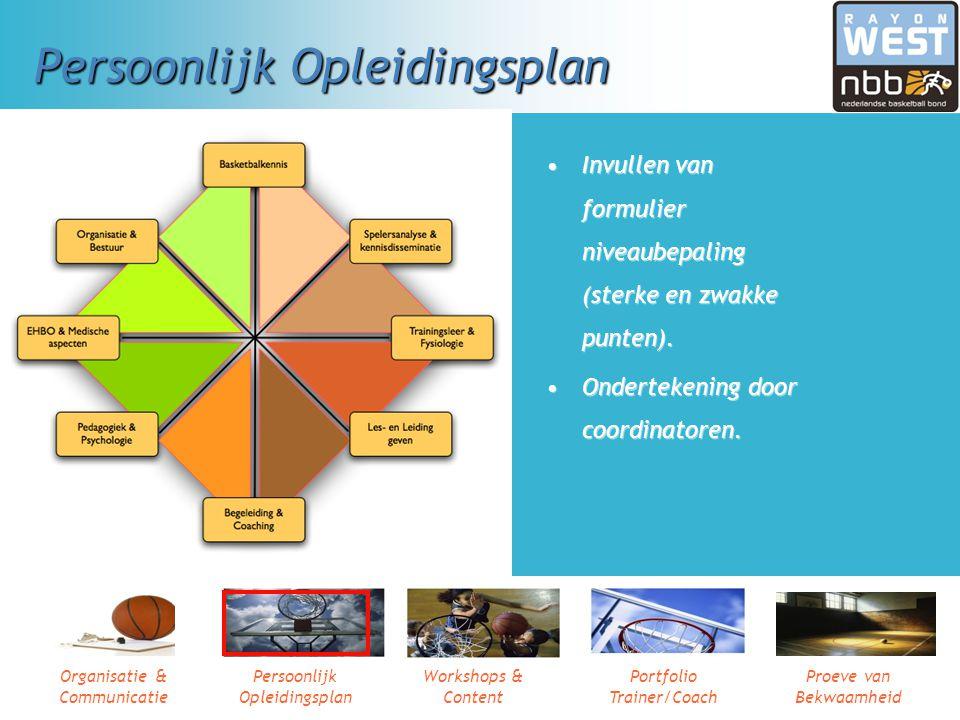 Organisatie & Communicatie Persoonlijk Opleidingsplan Workshops & Content Portfolio Trainer/Coach Proeve van Bekwaamheid Je persoonlijk opleidingsplan