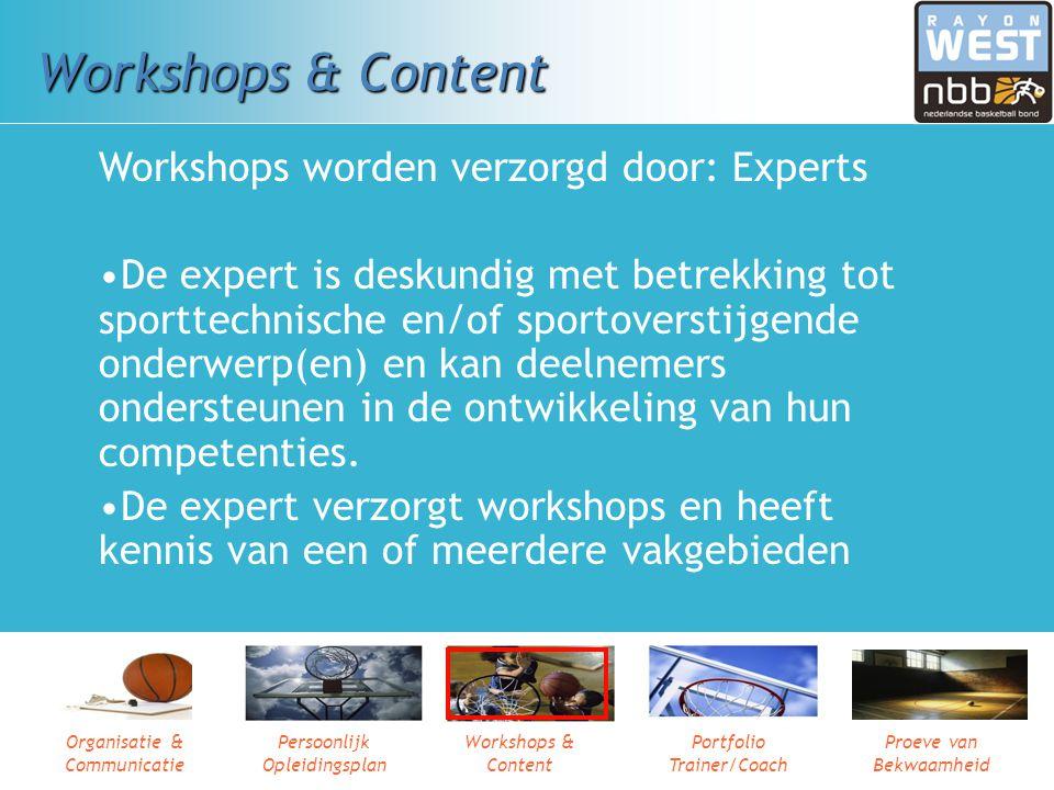 Organisatie & Communicatie Persoonlijk Opleidingsplan Workshops & Content Portfolio Trainer/Coach Proeve van Bekwaamheid Persoonlijk Opleidingsplan Pr