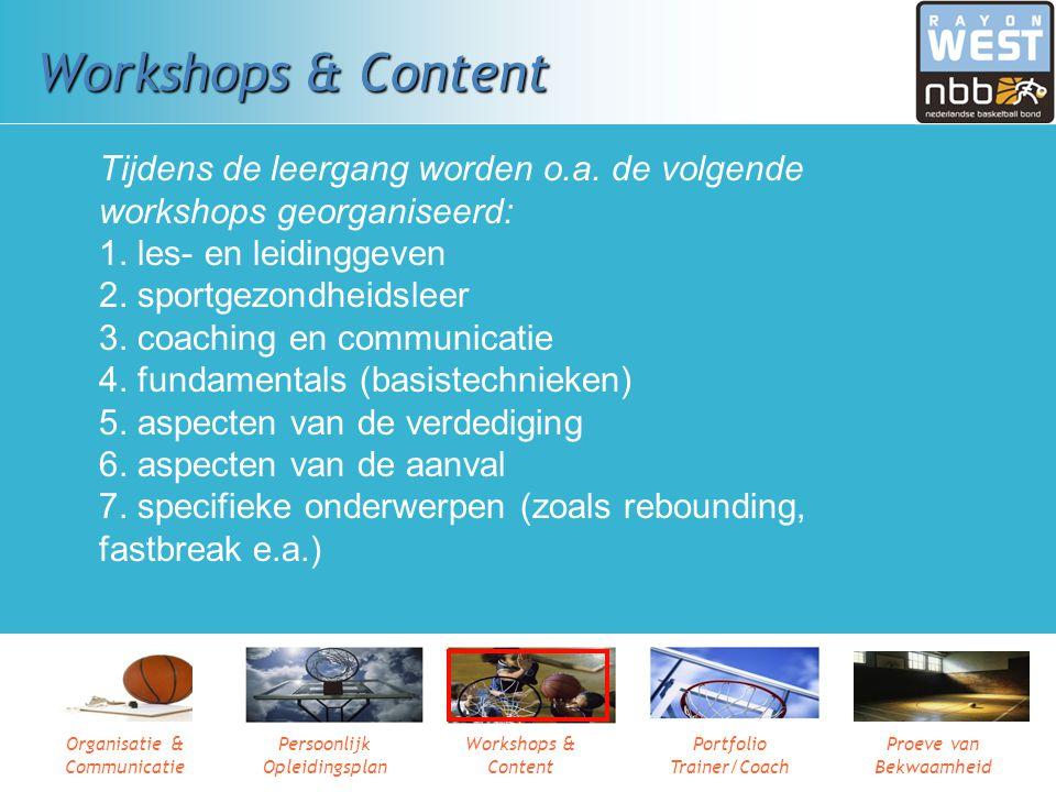 Organisatie & Communicatie Persoonlijk Opleidingsplan Workshops & Content Portfolio Trainer/Coach Proeve van Bekwaamheid Workshops & Content Workshops