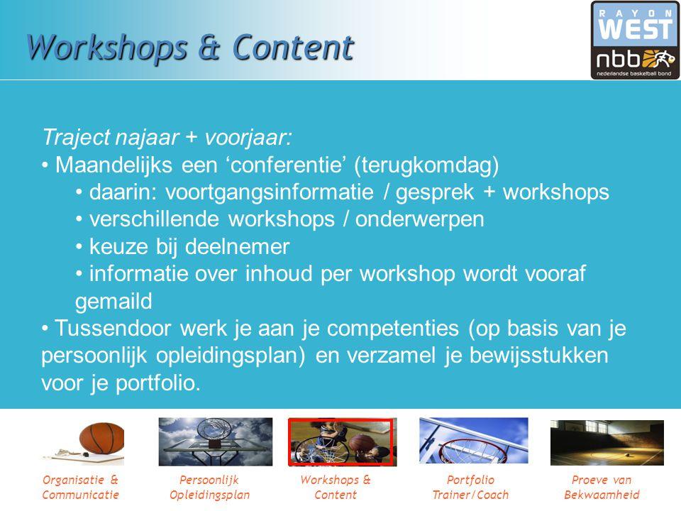 Organisatie & Communicatie Persoonlijk Opleidingsplan Workshops & Content Portfolio Trainer/Coach Proeve van Bekwaamheid Workshops & Content Maar ook