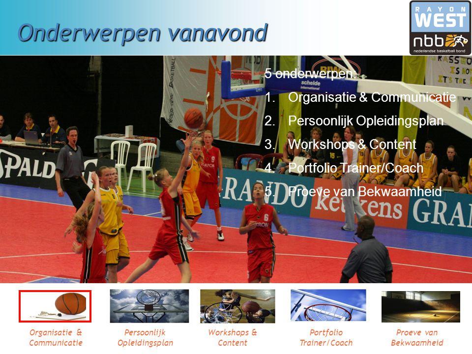 Leergang Basketbal Trainer/Coach, niveau 2, 3, 4 1e bijeenkomst oktober 2008 Organisatie & Communicatie Persoonlijk Opleidingsplan Workshops & content