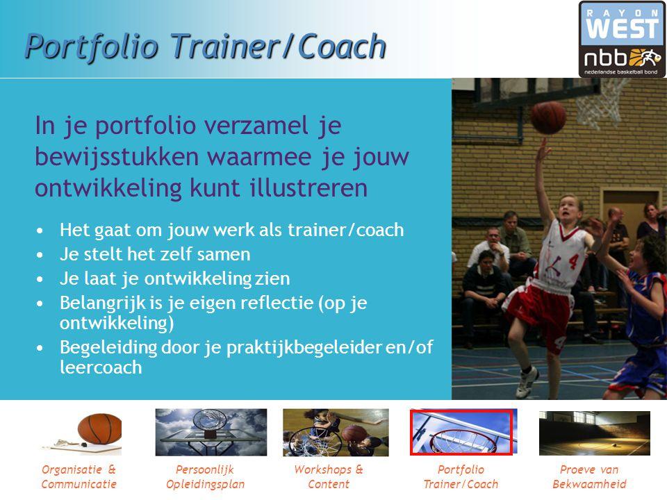 Organisatie & Communicatie Persoonlijk Opleidingsplan Workshops & Content Portfolio Trainer/Coach Proeve van Bekwaamheid Workshops & Content Traject n