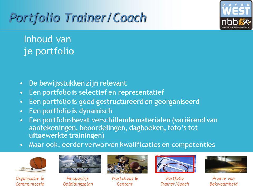 Organisatie & Communicatie Persoonlijk Opleidingsplan Workshops & Content Portfolio Trainer/Coach Proeve van Bekwaamheid In je portfolio verzamel je b